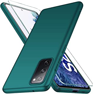 Vooway Samsung Galaxy S20 FE 4G / 5G Case + Tempered Glass Screen Protector, Green Ultra Slim Protective Case Hard Cover S...