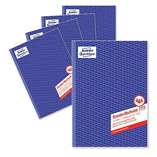 Avery Zweckform 1773horas de certificar (A4, papel autocopiativo, 2x 40hojas), color blanco/amarillo 5 unidades
