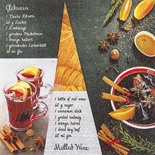 Servietten Napkins 33x33cm Serviettentechnik Mulled Wine Recipe Glühwein Punsch Orange Apfelsine