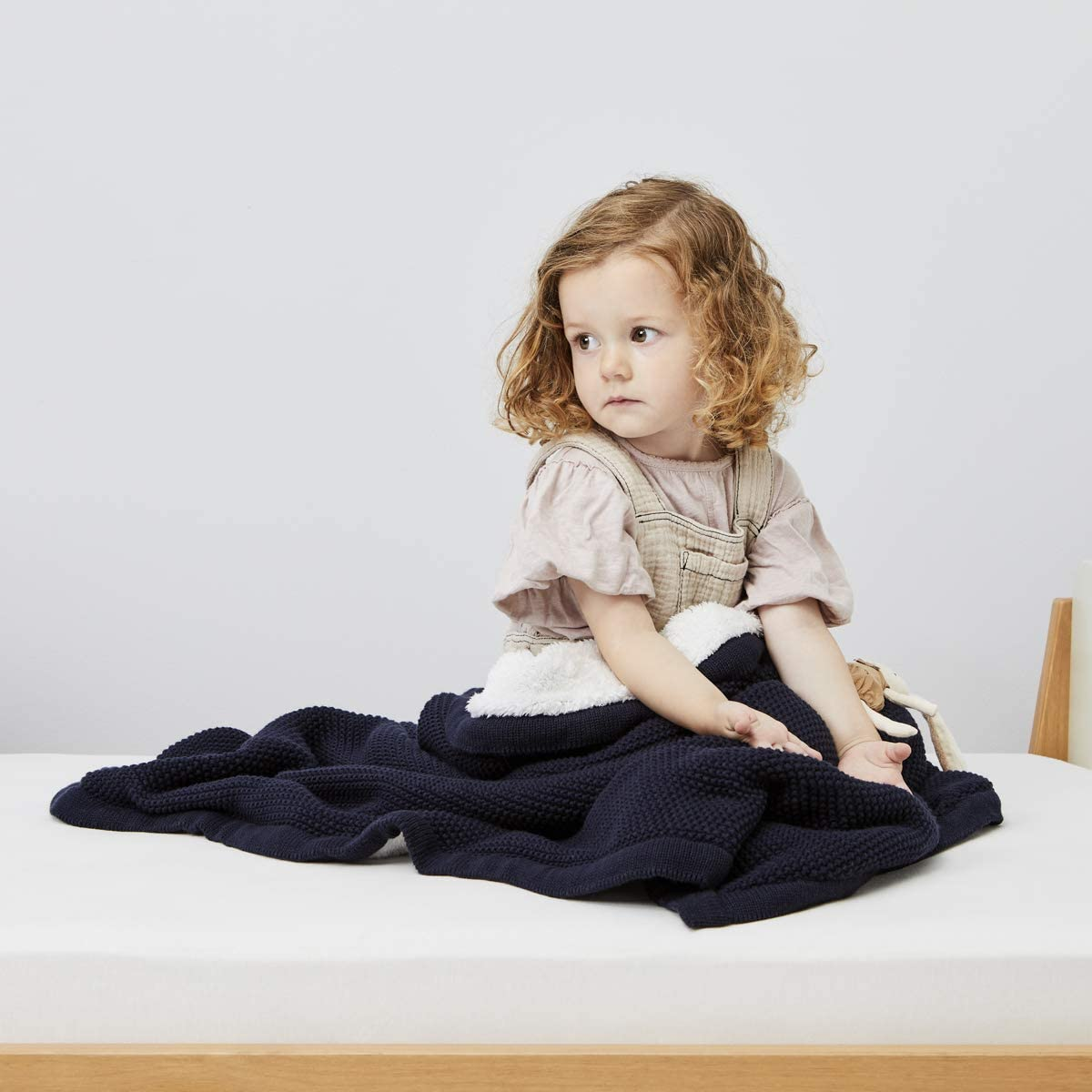 The Little Green Sheep Organic Knitted Fleece Baby Blanket Linen
