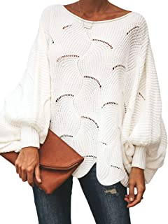 Msikiver Womens Oversized Pullover Sweater Batwing Sleeve Crochet Hollow Out Knit Jumper Cape White