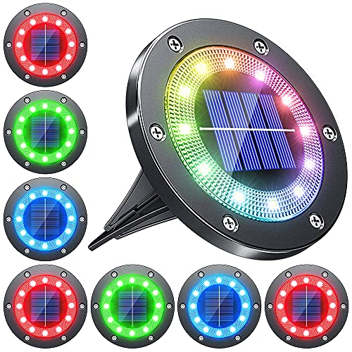 Biling Solar Ground Lights Outdoor with 12 LEDs, Multi-Color Auto-Changing Solar Lights Outdoor Waterproof, Solar Garden Lights for Pathway Garden Yard Patio Lawn - (Multi-Color 8pack)