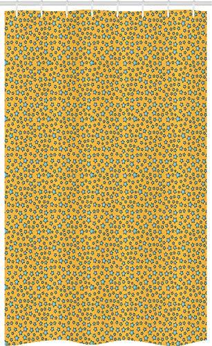 ABAKUHAUS Stars Douchegordijn, Cartoonish Onregelmatige Bestel, voor Douchecabine Stoffen Badkamer Decoratie Set met Ophangringen, 120 x 180 cm, Earth Yellow Aqua