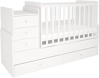 Polini Kids mitwachsendes Kombi-Kinderbett Gitterbett Babybett mit integrierter Wickelkommode und Wippfunktion, wandelbar zu einem Juniorbett: 60 x 120 cm oder 60 x 170 cm Matratzenmaß. Aus Birkenholz und MFC-Spannplatte. Weiß