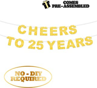 LINGPAR Cheer to 25 Years Banner -Happy 25 Years Old Birthday Party 25th Anniversary Party Decoration Bunting Gold