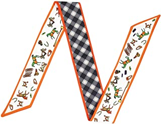 ACVIP Women's Pointy Double Sides Printed Plaid Neckerchief Ribbon Scarf