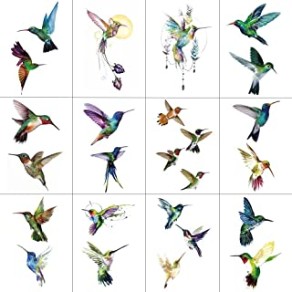 WYUEN 12 PCS Hummingbirds Temporary Tattoo Sticker for Women Men Fashion Body Art Adults Waterproof Hand Fake Tatoo 9.8X6cm (FW12-24)