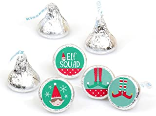 Big Dot of Happiness Elf Squad - Kids Elf Christmas and Birthday Party Round Candy Sticker Favors - Labels Fit Hershey's Kisses (1 Sheet of 108)