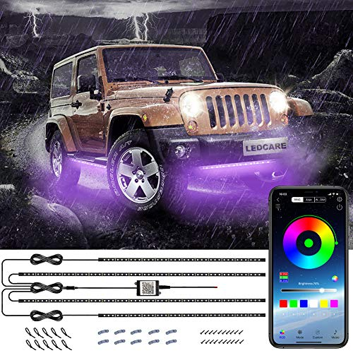 Car Underglow Lights, LEDCARE Exterior Car LED Strip Lights 16 Million Colors 2×47inch+2×35inch Neon Accent Lights Kit,Under Lights for Car Sync to Music and APP Control, DC12V (Multi-Color)