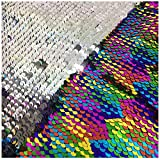 LQIAO Shimmer Reversible Mermaid Sequin Fabric Two Face...