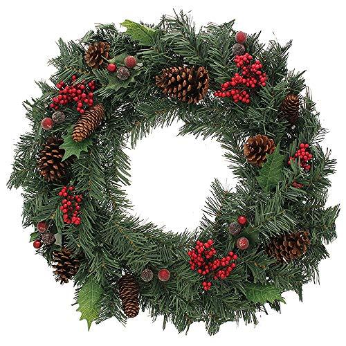 PUCHIKA PVC Kunstliche Weihnachtskranz, 40CM Türkranz für Weihnachten, Dekorierter Kranz mit Tannenzapfen und Mini Beere, Adventskranz