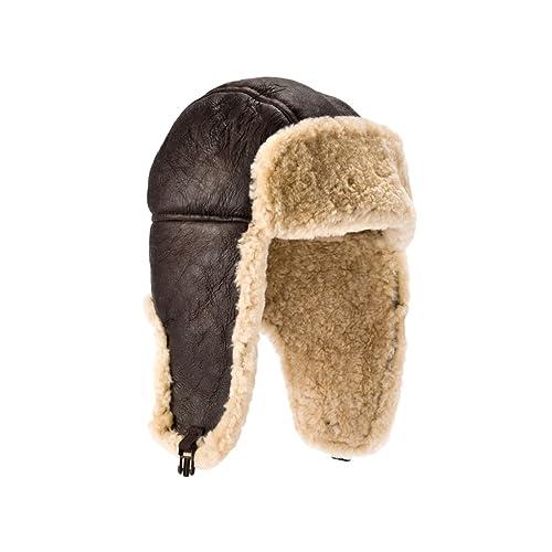 fb4fcd3feb7 Genuine Sheepskin Leather Hand Crafted Mens Aviator   Trapper Flying Hat (L)