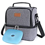 Lifewit 2 Compartment Lunch Box Insulated Lunch Bag Leakproof Thermal Bento Bag...