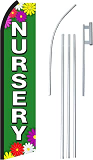 """NEOPlex - """"Nursery"""" Complete Flag Kit - Includes 12` Swooper Feather Business Flag With 15-foot Anodized Aluminum Flagpole AND Ground Spike"""