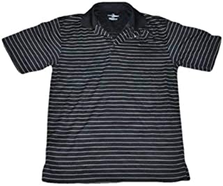 Mens Athletic Golf Black Striped Performance Polo Shirt-Size S