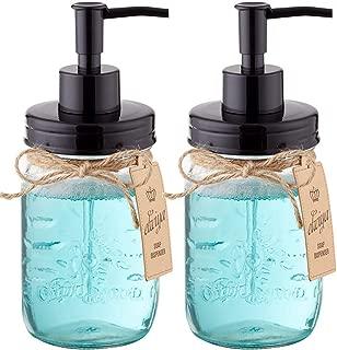 Elwiya Mason Jar Soap Dispenser - 16 Ounce Glass Mason Jar with Plastic Pump and Lid - Rust Proof - Rustic Bathroom Accessories &Kitchen Home Decor - 2 Pack