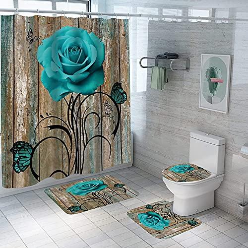 4Pcs Rose Duschvorhang Set mit rutschfesten Teppichen Toilettendeckel & Badematte Valentinstag Blumen Bad Vorhang Wasserdichter Polyester Duschvorhang für Badewanne mit 12 Haken 72x72in (A8)
