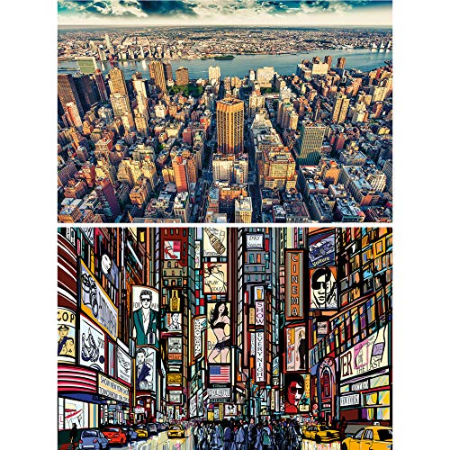 GREAT ART 2er Set XXL Poster New York Wandbild Dekoration Skyline & Zeichnung Set - Bild Wallpaper Foto-Poster Wanddeko Wand-Poster (140 x 100cm)