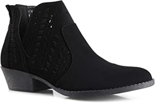 LUSTHAVE Perforated Laser Cut Out Stacked Chunky Low Heel Ankle Bootie - Side V-Cut Back Zipper Boots
