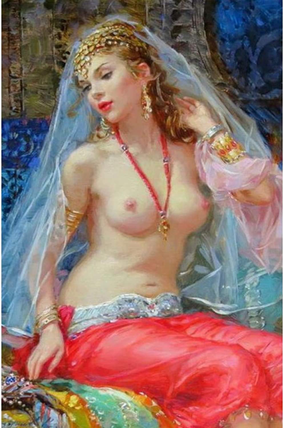 Mmbj DIY Oil Painting by numbers paint by number for home decor canvas Painting lady wearing the red skirt 60x75cm