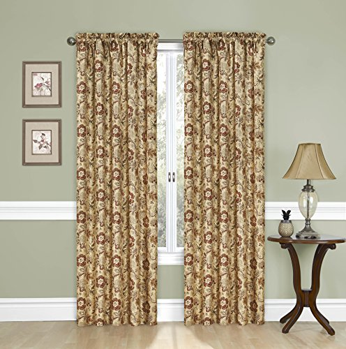 """WAVERY Traditions Curtains for Bedroom - Navarra 52"""" x 84"""" Decorative Single Panel Rod Pocket Window Treatment Privacy Curtains for Living Room, Antique"""