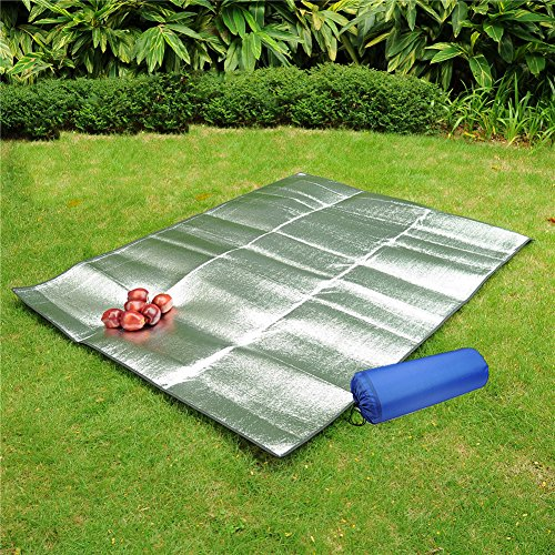 Doppelseitige Picknick-Decke, Camping-Decke, wasserdicht, mit Aluminiumfolie, Unterlage, faltbar L silber