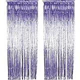 knowing 2 cortinas de lámina metálica, para decoración de ceremonias nupciales (púrpura)