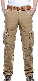 Pantalones Hombre Pantal/ón Casual para Hombre de Algod/ón con Bolsillos Laterales y Cintur/ón Ajustable Tallas Grandes Suelto Trabajo Pantalones