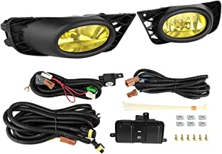 Bumper Fog Lights Driving Lamps with Switch Assembly Kit Compatible with 2009-2011 Honda Civic 4-Door Sedan Models - Driver & Passenger Side Yellow Lens
