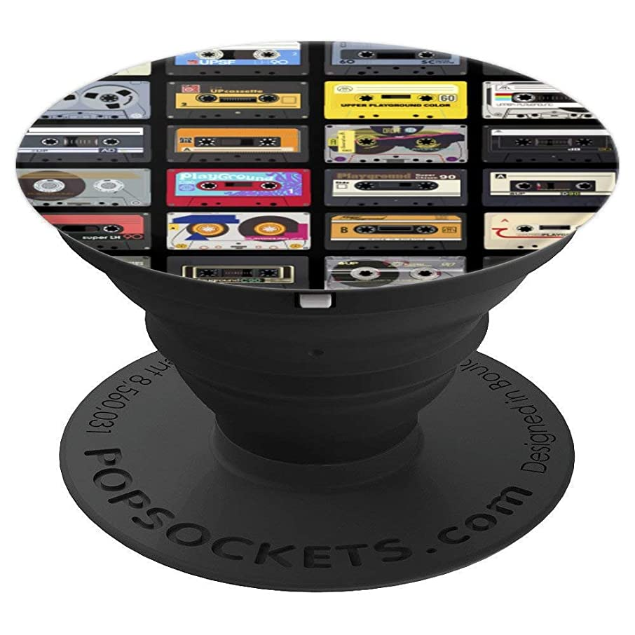 Vintage Retro Tape Cassette Variety Pattern - PopSockets Grip and Stand for Phones and Tablets
