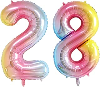 ZIYAN 40 Inch Giant 28th Rainbow Number Balloons,Birthday/Party balloons