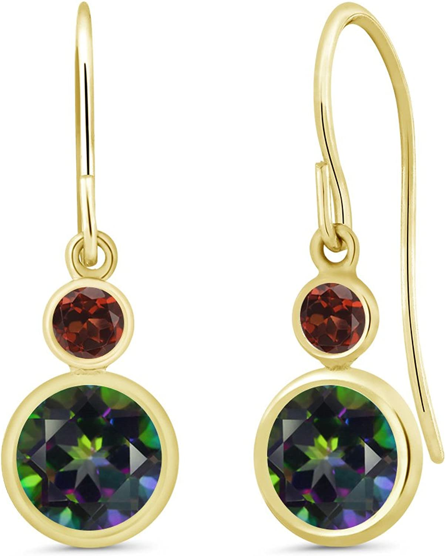 2.24 Ct Round Green Mystic Topaz Red Garnet 14K Yellow gold Earrings