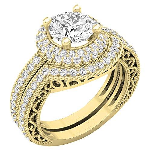 Dazzlingrock Collection 4.40 CT 14K Gold Halo Round Cubic Zirconia CZ Wedding Bridal Engagement Ring Set, Size 7