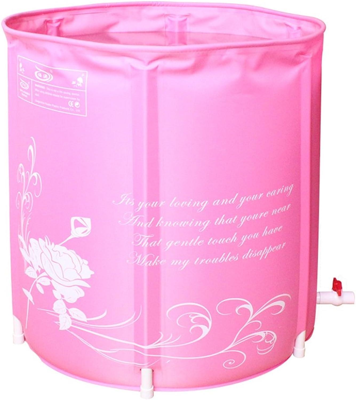 LSX Bathtub Inflatable Green Folding Adult Bath Bucket Material Nylon Material Size  70  70cm Soaking Baths (color   Pink)