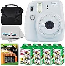 Fujifilm instax mini 9 Instant Film Camera (Smokey White) + Fujifilm Instax Mini Twin Pack Instant Film (80 Shots) + Camera Case + AA Batteries + Accessory Bundle