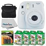Fujifilm instax mini 9 Instant Film Camera (Smokey White) + Fujifilm Instax Mini Twin Pack Instant Film (80 Shots) +...