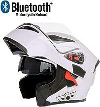 Bluetooth Casco De La Moto, Casco De La Motocicleta Del Descubrimiento Del Casco Con Lentes Anti-Vaho De TiróN Modular De RotacióN De Bluetooth Cascos-White, XL61CM ~ 62 CM