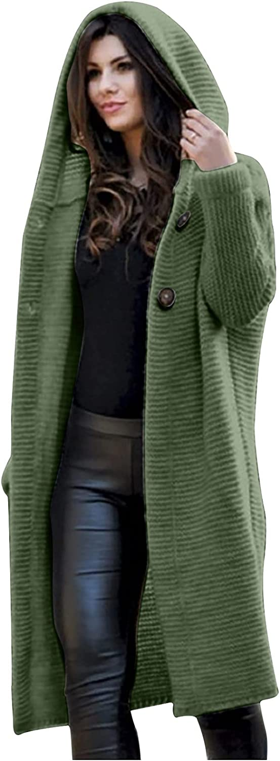 Women Hooded Cardigan Cable Knit Open Front Chunky Sweater Solid Color Loose Long Sleeve Button Down Outwear