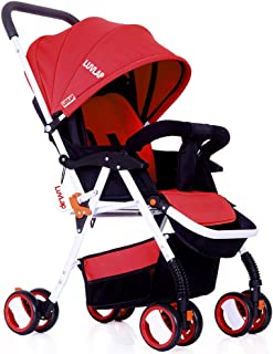 Luvlap Stroller/Pram, Extra Large Seating Space, Easy Fold, for Newborn Baby/Kids, 0-3 Years (red)