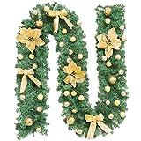 Dracol Guirnalda de Navidad de Cane Scene Decoration 2,7 m, guirnalda de Navidad artificial de ratán con flores doradas, campanas, árbol de Navidad, guirnalda decorativa para la pared del hogar