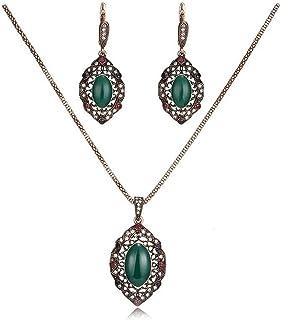 Basic Description: Alloy+Resin. 2 PCS jewelry set: pendant necklace+drop earrings