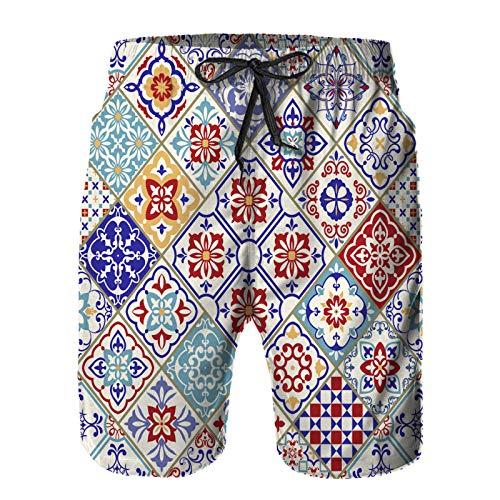 Hombres Verano Secado rápido Pantalones Cortos Playa azulejo de cerámica inconsútil Colorido Patchwork Vintage Trajes de baño Correr Surf Deportes-4XL