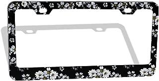 Tropical Flowers White Daisies Black - License Plate Frame, Flower Car Frames, License Plates Holder, Lisences Plate Cover Art Floral for Women Men Auto Decoration