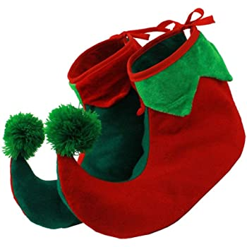 ELF SHOES GREEN /& RED,PAIR SHOE COVERS,CHRISTMAS//PIXIE//JESTER//XMAS FANCY DRESS