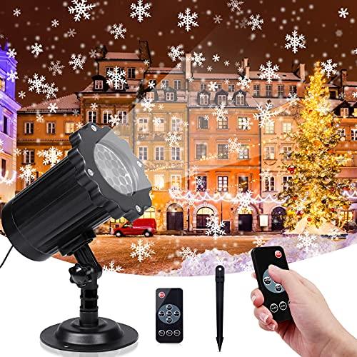Sundom Lampada di Natale Proiettore LED, Luci per Proiettori a Fiocco di Neve con Telecomando, Luci Natale Impermeabili IP65 con Funzione di Temporizzazione, per Natale, Matrimonio, Festa