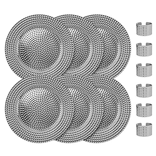 Home Collectives 13 Inch Round Elegant Serve ware Charger Plates with Matching Napkin Rings, Wedding, Dinner party, Event - Choose from our Variety of Styles and Quanties (6, Hammered Silver)