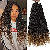 Kasha Goddess Faux Locs Crochet Hair With Curly Ends 18 Inch Deep Wave Curly Braiding Hair Synthetic Crochet Braids Hair Extensions (T27)