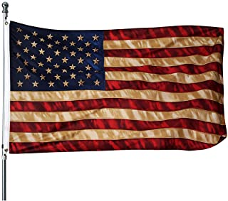 Homissor Tea Stained American Flag – 3×5 Outdoor Vintage Rustic Tea Stained..