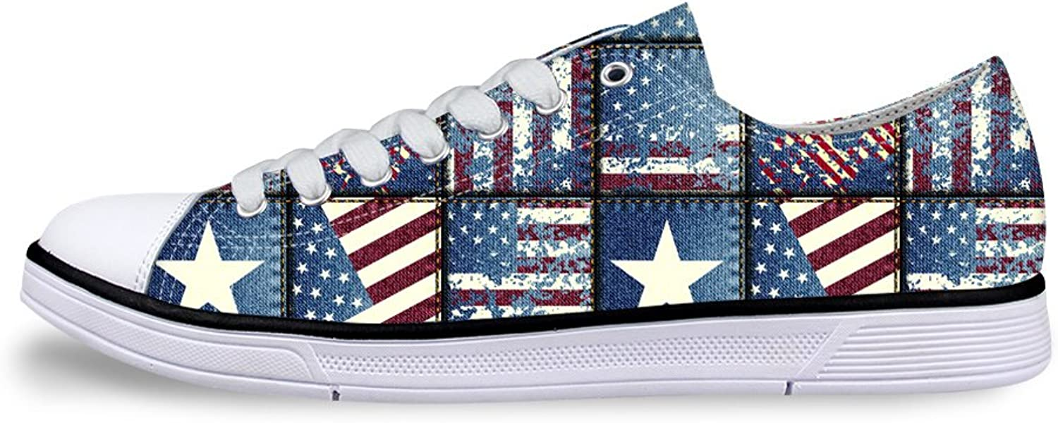 Mumeson Stylish American Flag Print Unisex Canvas Sneaker Casual Walking shoes for Women Men
