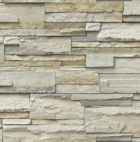 NuWallpaper NU2675 Slate Peel & Stick Wallpaper, Neutral